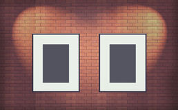 Two Old blank photo frame on brick wall Interior Royalty Free Stock Image