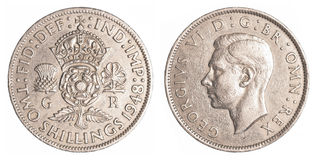 Two old british shillings coin Stock Photos