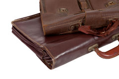 Two of old brown briefcase Stock Photos