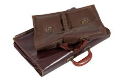 Two of old brown briefcase Stock Photography