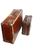Two old brown fiberboard suitcases Stock Images
