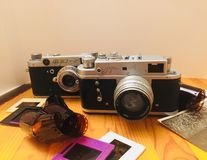 two old camera royalty free stock images