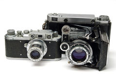 Two old cameras Royalty Free Stock Images