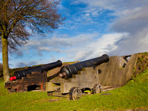 Two Antique Cannons in a Fortified Town Royalty Free Stock Photography