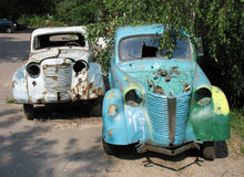 Two old cars. Summer stock images