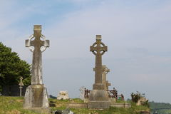 Two old Celtic Crosses in graveyard Stock Photography