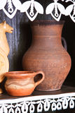 Two old clay jug Stock Photos