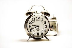Two old clock on white background. Royalty Free Stock Photo
