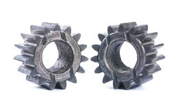 Two old cogwheels isolated Royalty Free Stock Image