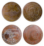 Two old coins of iceland Stock Photography