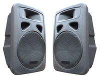 Two old concerto audio speakers on white Stock Image