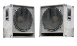 Two old concerto audio speakers on white Royalty Free Stock Photos