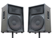 Two old concerto audio speakers on white Royalty Free Stock Photography