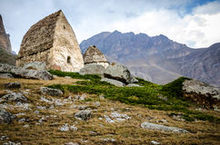 Two old crypt on the mountain in the Chegem gorge. In Kabardino-Balkaria Stock Photo