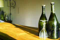 Two old dark green Normandy cider bottles Stock Image