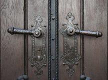 Two old door knobs stock image