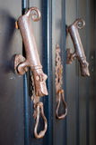 Two old door knockers Royalty Free Stock Photo