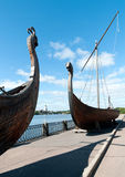 Two old Drakkar boats of the Vikings Royalty Free Stock Images