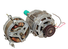 Two old electric motors isolated on white background Royalty Free Stock Image