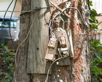 Two of old electrical switches (cut out) hung on a big tree. With wood and soil, dirty with soil stock images