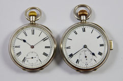 Two Old English Pocket Watches Royalty Free Stock Images