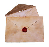 Two old envelope with red sealing wax Stock Photo