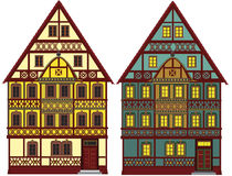 Two old farm houses, isolated. These two farm houses could be anywhere in Europe and reach back to the middle age Royalty Free Stock Photo