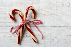 Two Old Fashioned Candy Canes Rustic Table Royalty Free Stock Photography