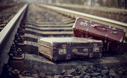 Two old fashioned forgotten a suitcases Stock Photo