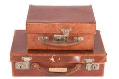 Two old fashioned leather suitcases Stock Images