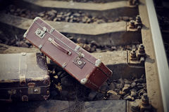 Two old fashioned on railroad tracks Royalty Free Stock Photo