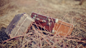 Two old fashioned a suitcases Stock Photo