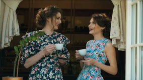 Two Old fashioned woman drink tea and talking. Two talktive woman drinking tea stock video