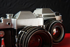Two old film cameras Royalty Free Stock Images