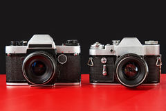 Two old film cameras. Produced in USSR stock image