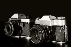 Two old film cameras Stock Photo