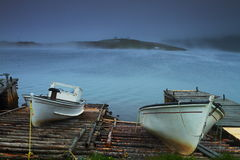 Two old fishing boat royalty free stock photo