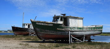 Two Old Fishing Boats Royalty Free Stock Images