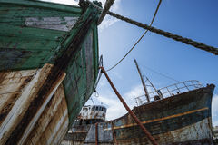 Two old fishing boats Royalty Free Stock Photography