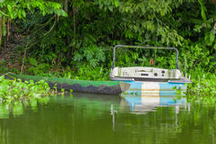 Two old fishing wooden boat in the shore in Limoncocha National Park in the Amazon rainforest in Ecuador Stock Images