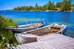 Two old fishing wooden rowboats Royalty Free Stock Photography