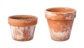 Two Old Flowerpots Isolated on White Stock Photo