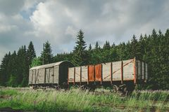 Two old freight cars on a railway. In the nature Royalty Free Stock Photography