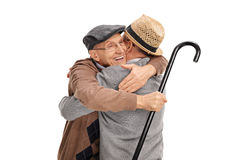 Two old friends hugging each other Royalty Free Stock Image