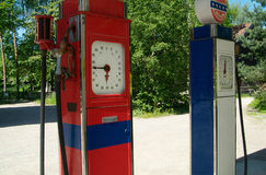 Two old gasoline pumps Stock Photo