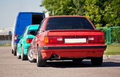Two old German sport cars. Stay back (BMW E30 Stock Images
