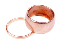 Two old gold wedding ring Royalty Free Stock Photography