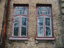 Two old house window,Kiev.  Royalty Free Stock Photography