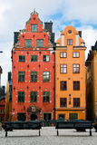 Two old houses. In the old market square in Stockholm. Sweden Royalty Free Stock Images