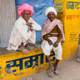 Two old Indian man with colorful turban Stock Photo